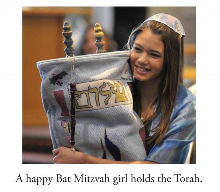 Una page de 'L'Chaim! Pictures to Evoke Memories of Jewish Life,' un livre pour les adultes atteints de démence (Crédit : Wojtek Gil/Rainbow Ridge Books/via JTA)