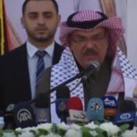 Mohammad al-Amadi, envoyé du Qatar dans la bande de Gaza, lors de l'inauguration du nouveau quartier de Hamad, dans la ville de Gaza, le 16 janvier 2017. (Crédit : capture d'écran YouTube)