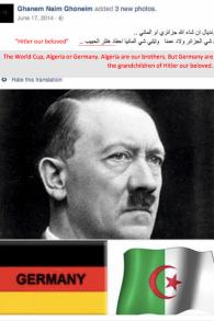 """Ghanem Naim Ghoneim, qui se présente comme professeur de biologie de l'UNRWA au Liban, a publié une image d'Adolf Hitler, présenté comme """"notre bien-aimé"""". (Crédit : UN Watch)"""