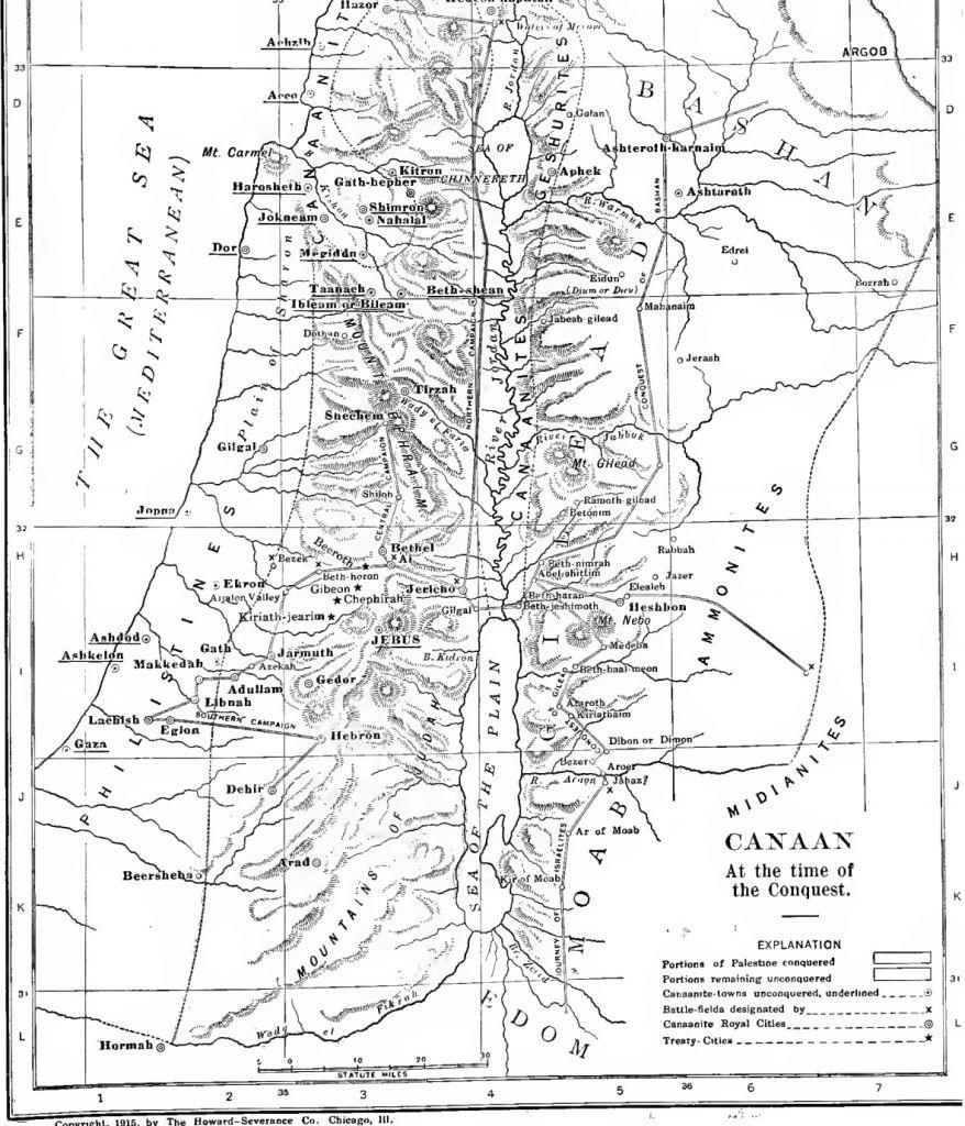Carte de la terre de Canaan durant la conquête israélienne, extrait de l'International Standard Bible Encyclopedia (Crédit : domaine public  via Wikimedia Commons)