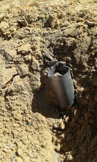 L'une des deux roquettes tirées sur le sud d'Israël depuis la péninsule du Sinaï, le 20 février 2017. (Crédit : police israélienne)