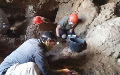 L'archéologue Ahiad Ovadia en train de creuser dans la grotte 12 près de Qumran (Crédit : Casey L. Olson et Oren Gutfeld, Université hébraïque)