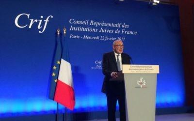 Le président du CRIF, Francis Kalifat, lors du 32e dîner du CRIF, en février 2017. (Crédit: CRIF)