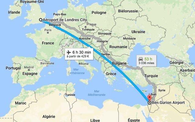 Ligne Londres-Tel Aviv. La compagnie Wizz Air ouvrira dès juin 4  nouvelles lignes (Crédit capture d'écran/Google Maps)