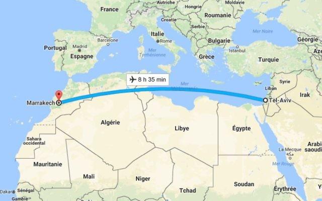 Une nouvelle ligne Tel-Aviv Marrakech-Casablanca pour le printemps 2017 (Crédit: Google Map)