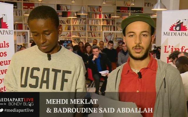 Mehdi Meklat et Badroudine Said Abdallah, lors d'une chronique sur Médiapart. (Crédit: capture d'écran YouTube/Médiapart)