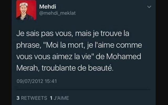 Mehdi Meklat, jeune journaliste et écrivain, voit ses milliers de tweets, dont une part ouvertement homophobes et antisémites, dévoilés au grand jour (Crédit: capture d'écran/Twitter)