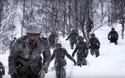 """Les zombies nazis du film """"Dead Snow"""", réalisé en 2009 (Crédit : Capture d'écran YouTube)"""