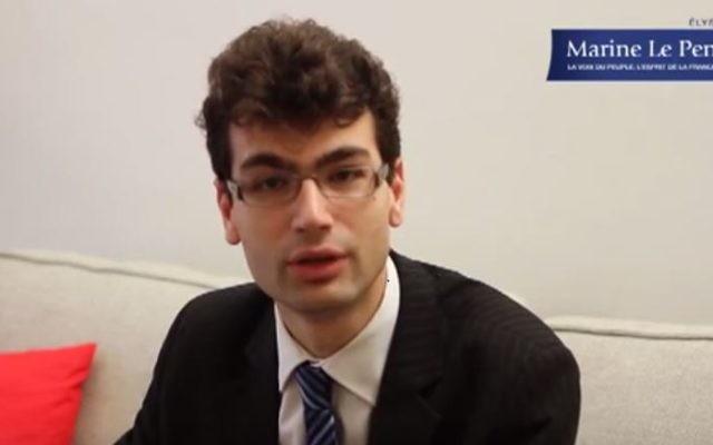 Gaël Nofri, conseiller de Marine Le Pen pendant la présidentielle de 2012, en janvier 2012. (Crédit : capture d'écran YouTube)
