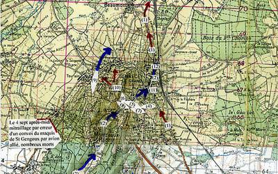 Plan de la bataille de Sennecey, à laquelle participa le Stick Zermatti, dont faisait partie Norbert Beyrard, où plus de 1000 Allemands furent neutralisés (Credit: Sennecey1944/ L. Laloup)