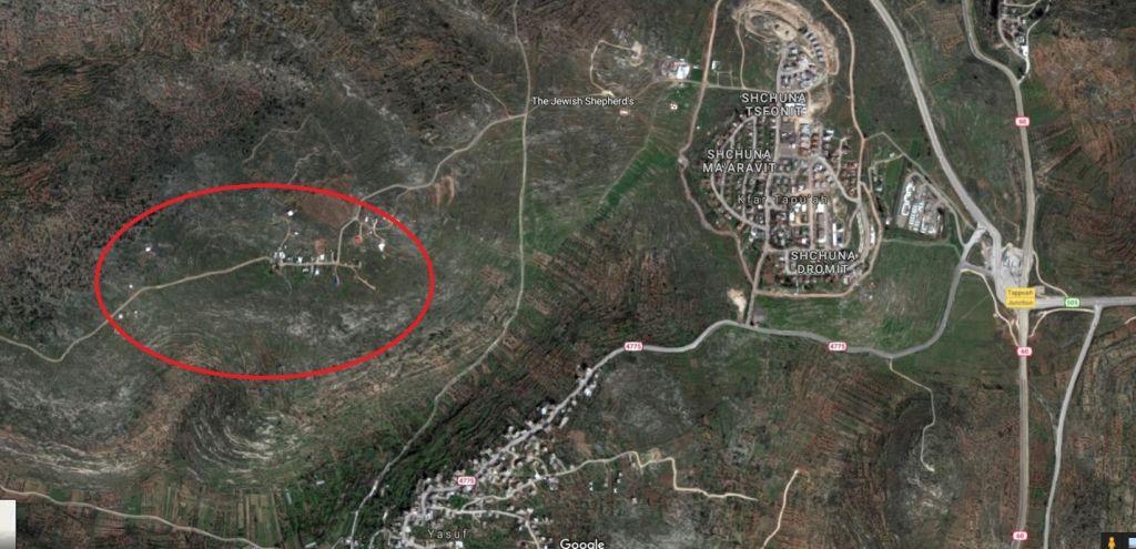 Tapuah Oouest (encerclé), est adjacent à l'implantation de Kfar Tapuah, dans le nord de la Cisjordanie. (Crédit : Google Maps)
