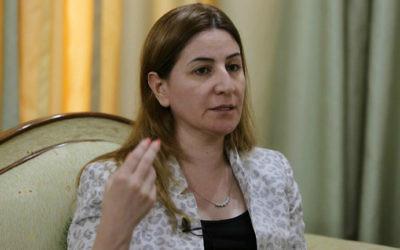 Vian Dakhil, suele parlementaire yézidie en Irak, répond aux questions dans une interview le 20septemebre 2014 à Erbil, capitalecapitale de la région autonome du Kurdistan au nord de l'Irak (Crédit: Mohammed Sawaf/AFP)