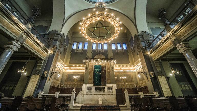 La synagogue Cha'ar Hachamaïm du Caire, le 3 octobre 2016. (Crédit : Khaled Desouki/AFP)