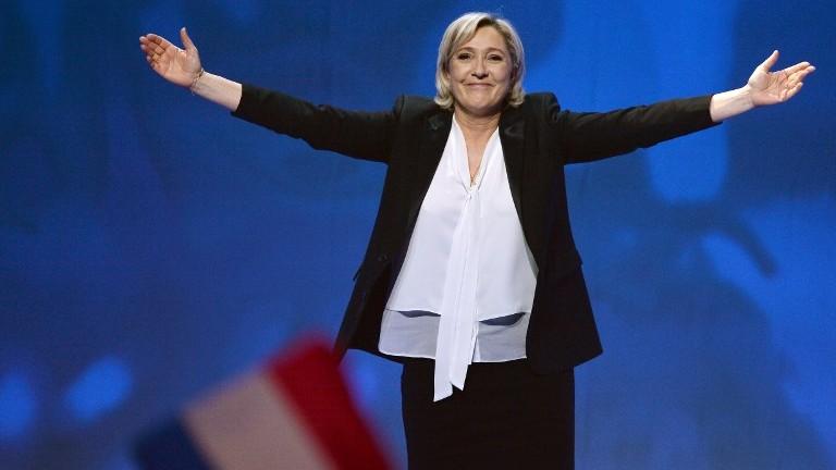 Marine Le Pen en campagne au Zénith de Nantes, le 26 février 2017. (Crédit : Jean-Francois Monier/AFP)