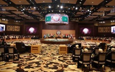 Sommet de la Ligue arabe à la station balnéaire de Sweimeh, en Jordanie, le 29 mars 2017. (Crédit : Khalil Mazraawi/AFP)
