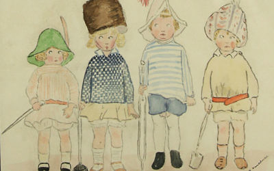 """'Eyes Right"""", un dessin extrait des archives de la synagogue libérale de Londres, qui date de la Première guerre mondiale. Les travaux artistiques des enfants ont été numérisés par le site We Were There Too. (Crédit : LSJ/WWTT)"""