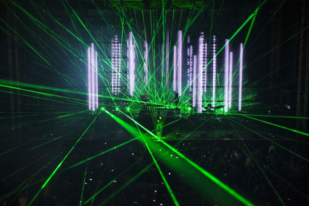 """La tournée """"Electronica World Tour"""" de Jean-Michel Jarre, en 2016. (Crédit : Greg Rybczynski)"""