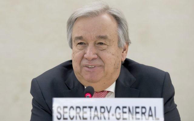 António Guterres, secrétaire général des Nations unies, à Genève, le 18 janvier 2017. (Crédit : Jean-Marc Ferré/Nations unies)