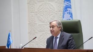 António Guterres, secrétaire général des Nations unies, à Riyad, le 12 février 2017. (Crédit : Mohammed Al Deghaishim/Nations unies)