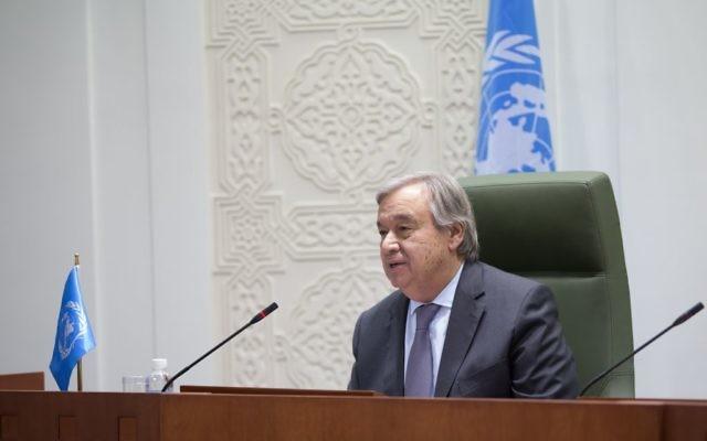 António Guterres, secrétaire général des Nations unies, à Ryad, le 12 février 2017. (Crédit : Mohammed Al Deghaishim/Nations unies)