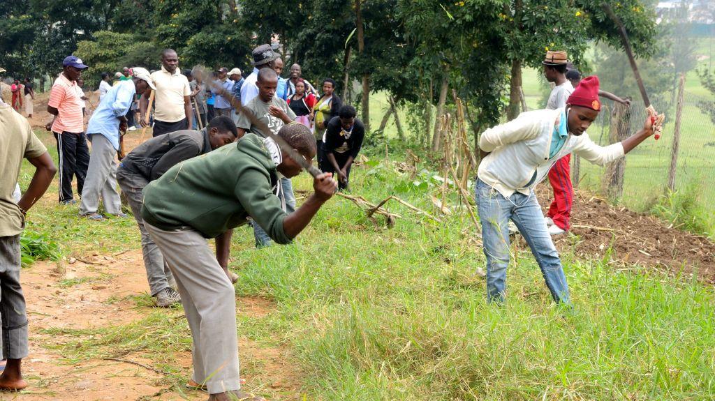 Les habitants de Kimana Village à Kigali, au Rwanda, participent au service communautaire mensuel d'Umuganda le 25 février 2017 (Crédit : Melanie Lidman/Times of Israel)