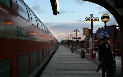 La gare de Netanya (Crédit :  Chen Leopold/Flash 90)