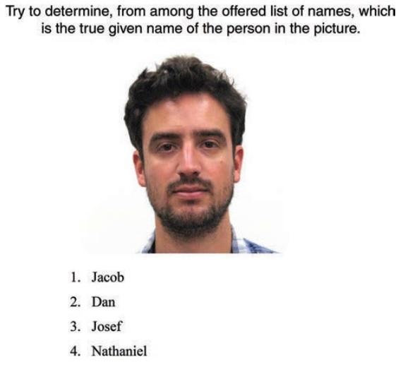 Il est possible de deviner le prénom d'une personne en se basant sur son visage, selon une étude publiée le 27 février 2017. (Crédit : capture d'écran Journal of Personality and Social Psychology)