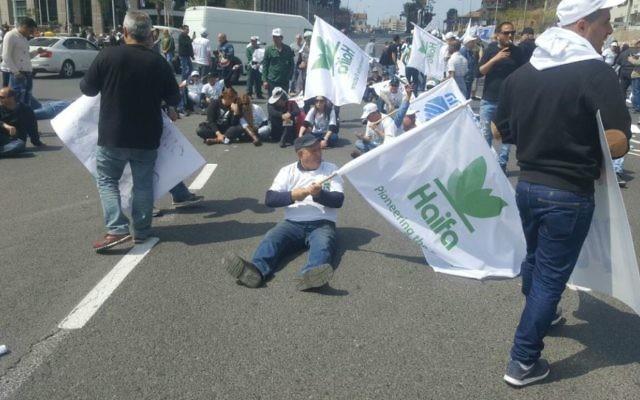 Des manifestants protestent contre la fermeture du réservoir d'ammoniac de Haïfa, à Tel Aviv. (Crédit : Tal Gimpel)