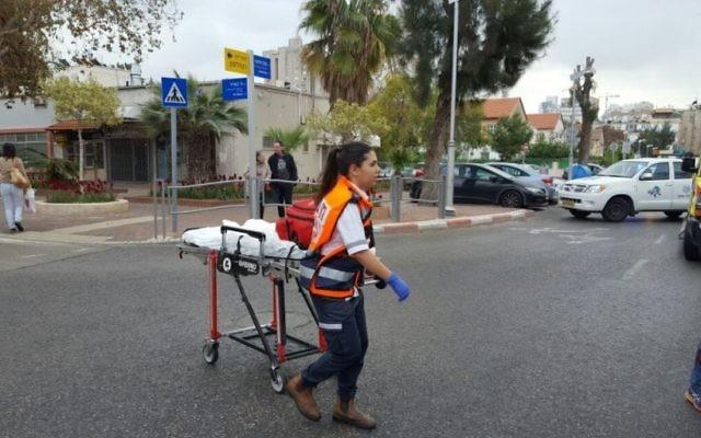 Lieux d'une attaque pyromane à la clinique Clalit de Holon, le 14 mars 2017. (Crédit : porte-parole de Magen David Adom)
