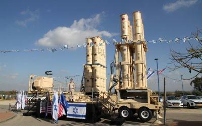 Le système de défense antimissile Arrow 3 qui a été livré à l'armée de l'air israélienne le 18 janvier 2017 (Crédit : Ministère de la Défense)