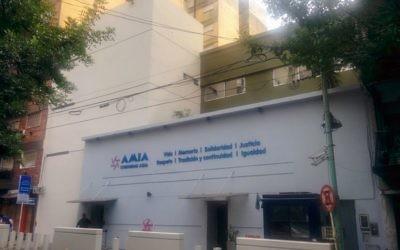 Le centre communautaire de l'AMIA à Buenos Aires, reconstruit après l'attentat de 1994. (Crédit : Ilan Ben Zion/Times of Israël)