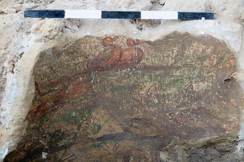 Une partie d'une fresque datant de l'ère romaine découverte au cours des fouilles réalisées à Omrit, dans le nord de la vallée de la Hula en juin 2016. (Autorisation : Daniel Schowalter)