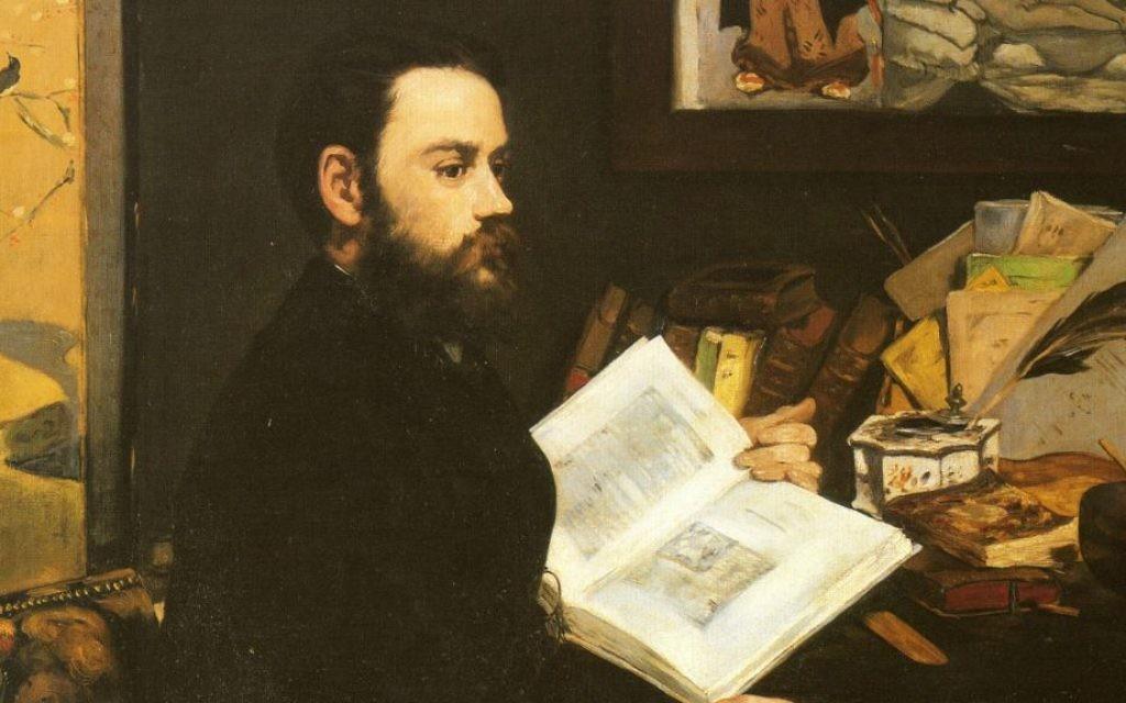 Un encadré du 'Portrait d'Émile Zola' d' Édouard Manet, 1868, qui est visible au  Musée d'Orsay. (Crédit : Domaine public)