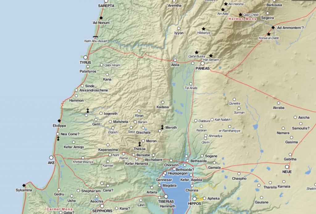 Un carte de la Galilée à l'ère romaine créée par Johan Åhlfeldt (Capture d'écran : http://pelagios.org/maps/greco-roman/)
