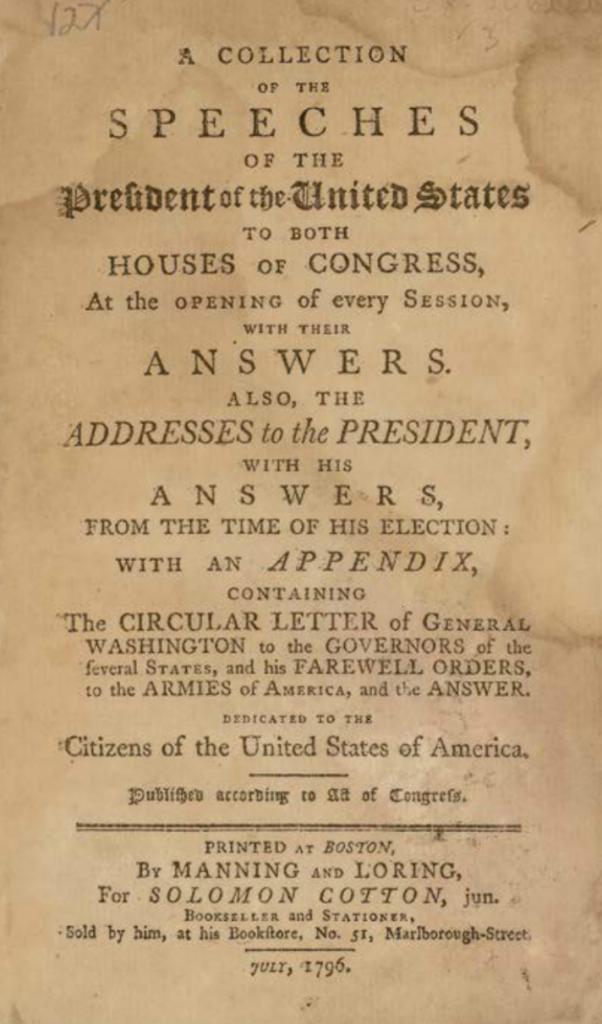 "La page de titre du livre de George Washington en 1796, ""Collection of the Speeches of the President of the United States… Addresses to the President, with His Answers."" (Autorisation de Kestenbaum & Co.)"