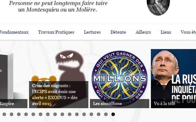 Capture d'écran du blog de l'enseignant en physique où  l'on aperçoit pèle-mêle une recension de 'Comprendre l'empire' le livre conspirationniste d'Alain Soral, une allusion ironique aux victimes de la Shoah (Crédit: capture d'écran/Aitia.fr)