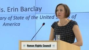 Erin Barclay au Conseil des droits des l'homme de l'ONU, le 1 mars 2017. (Crédit : capture d'écran  UNHRC)