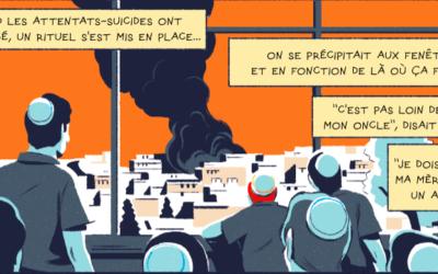 """Capture d'écran de """"J'avais 15 ans, et j'habitais à Jérusalem"""" reportage dessinée paru dans le dernier numéro de la revue Topo (Crédit : Topo)"""