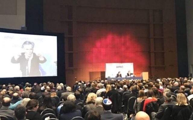 Bernard Henry-Lévy était invité à s'exprimer à l'AIPAC le 26 mars à Washington (Crédit: capture d'écran Twitter/BHL)