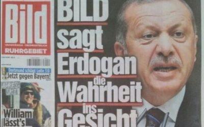 La une du Bild, quotidien allemand, en pleine crise diplomatique entre l'Allemagne et la Turquie, le 15 mars 2017. (Crédit : capture d'écran Bild.de)