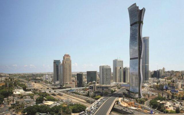 Maquette du projet architectural « Entre les villes », à Tel-Aviv, un gratte-ciel de 100 étages (Crédit : autorisation Miloslavsky Architects)