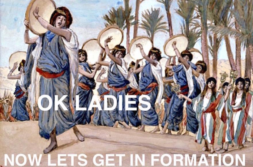 Un mème 'Beyonséder', qui mélange paroles de Beyoncé et images de Pessah. (Crédit : Amy Schiller)