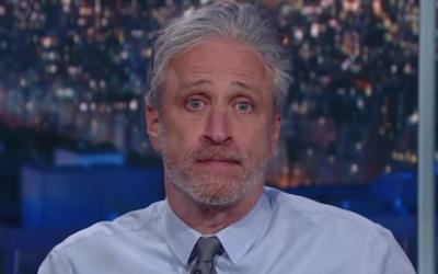 Jon Stewart sur The Late Show avec Stephen Colbert, 27 février 2017. (Crédit : capture d'écran YouTube)