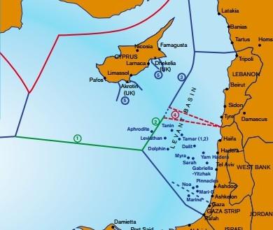 Carte des Zones économiques exclusives de la Méditerranée orientale, comprenant la zone disputée (4, en pointillés) entre Israël et le Liban. (Crédit : IEMed Mediterranean Yearbook 2012 - www.iemed.org/medyearbook)