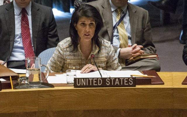 L'ambassadrice américaine aux Nations unies, Nikki Haley, au Conseil de Sécurité à New York, le 21 février 2017. (Crédit : Kena Betancur/AFP)