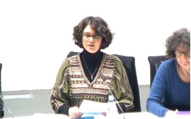 """La chercheuse Nurit Lévy, lors de la conférence """" littérature et haine de soi"""" organisée par l'INALCO et retransmise sur Akadem (Crédit: capture d'écran Akadem)"""