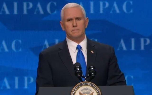 Le vice-président américain Mike Pence pendant la conférence politique annuelle de l'AIPAC, à Washington, D.C., le 26 mars 2017. (Crédit : capture d'écran)