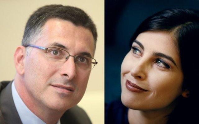 Gideon Saar, à gauche, ancien ministre de l'Intérieur du Likud, et la présentatrice Geula Even. (Crédit: Yoav Ari Dudkevitch/Moshe Shai/Flash90)