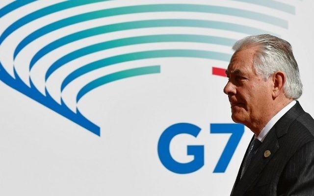 Rex Tillerson en Italie, le 10 avril 2017 (Crédit : Vincenzo Pinto/AFP)