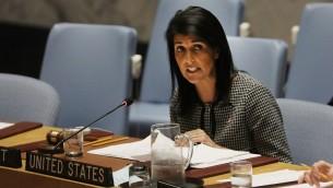Nikki Haley, ambassadrice des Etats-Unis à l'ONU, pendant une réunion du Conseil de sécurité sur la situation au Moyen Orient à New York, le 12 avril 2017. (Crédit : Spencer Platt/Getty Images/AFP)